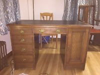 Antique solid oak pedestal desk