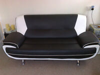 2 X BLACK AND WHITE FAUX LEATHER SOFA'S