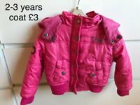 Girls 2-3 years coat with hood