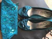 Size 5 Teal Peep Toe Shoes/Jewelled Bag