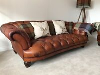 Brown Leather DFS Oskar Sofas - Chesterfield Style