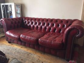 Vintage shabby chic red leather 3 seater sofa