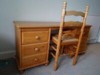 Pine desk with drawers and chair - good condition