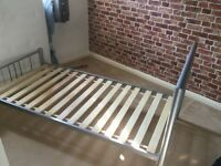 From Dreams - a single silver style metal bed frame with wooden slats