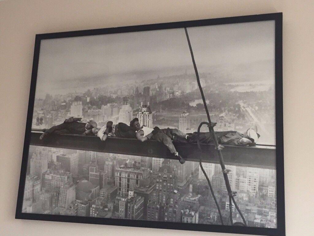 Framed Picture Men Sleeping on Girder New York