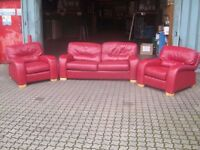 3 piece red leather suite including sofa bed
