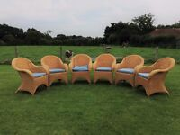 Attractive Set of Natural Wicker Armchairs: Ideal for gardens & indoors