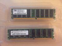 512MB (2 X 256MB) DDR 400MHz DIMM PC3200U PC RAM MEMORY
