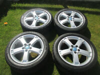 "ford focus mondeo transit connect 17"" alloy wheels 5stud all tyres are like new"