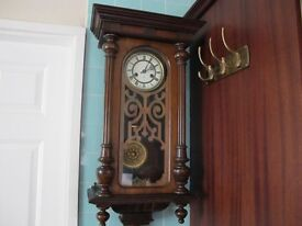 Antique 8day Wall Clock Quarter Chiming