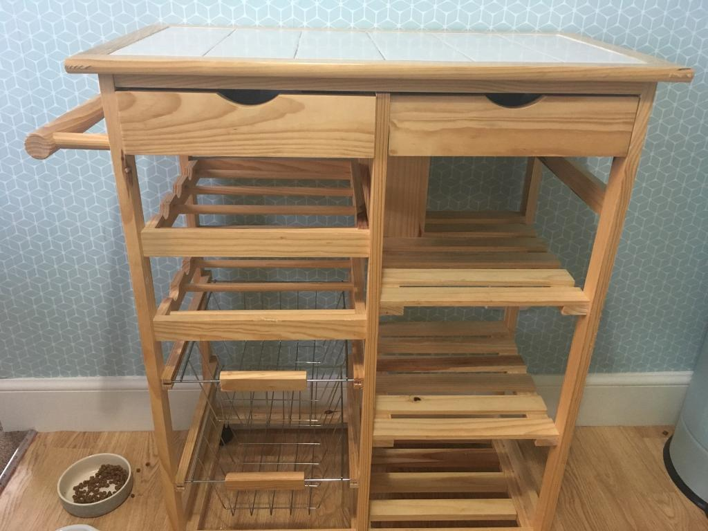 HOME pine tile top kitchen trolley