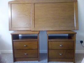 2 teak bedside tables with 2 drawers and 2 single wall hanging bedheads ex Portugal