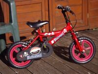 BOYS BIKE IN IMMACULATE CONDITION WOULD SUIT A 3 TO 5 YEAR OLD CHILD .