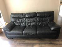 Black leather 3 seater sofa and black leather chair recliner