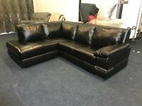LITTLEWOODS PRIMO BLACK ITALIAN LEATHER CHAISE CORNER SOFA RIGHT ANGLE L SHAPE LEFT HAND SIDE CHROME