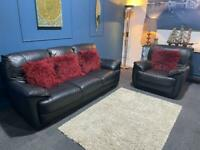 Black leather suite 3 seater sofa and chair (also another free chair)