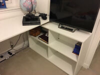 L-Shape PC Computer Corner Desk With Storage White