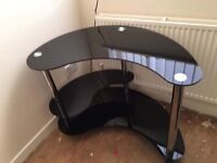 New black glass curved corner computer desk £75 Ono