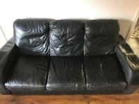 Black Leather 3 Piece Suite (FREE TO COLLECT)
