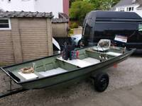ALLUMINIUM 14FT FISHING BOAT WITH OUTBOARD