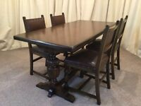 Antique Dining Table & Chairs Oak Refectory Table & 4 Chairs Antique Brown