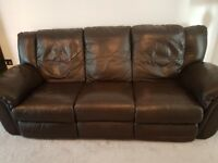 Recliner 3 seater sofa brown leather