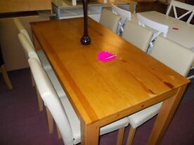 New solid pine dining table + 6 cream midback chairs