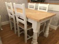 Amazing 5ft Shabby Chic Chunky Farmhouse Pine Table and 4 Lovely Chairs