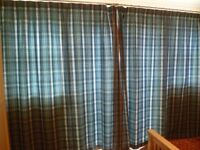 Blue Check Eyelet Curtains fully lined from non smoking household