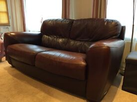 2 x Real Leather 2 seater sofa's brown