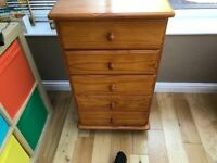 5 draw pine chest for sale reasonable used condition.