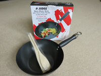 "Judge Non-stick Wok 25cm/10"" with Heavy Duty Handle - Suitable for All Hobs - 3 Piece Set"