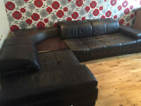 3 Seater Brown Leather Sofa with Corner Coffee Table