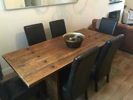 NEXT DINING TABLE AND 6 CHAIR SET DINNER WOODEN LEATHER LOOK CHAIRS DESIGNER