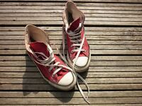 Red high-top converse trainers, size 6