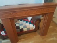 Oak fire surround and marble back electri fire never been used house collapse forces sale