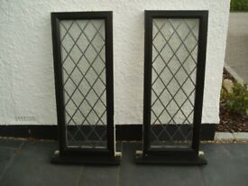 Used UPVC 70mm Windows Black Foil/ White Fixed Glazing 1165x460
