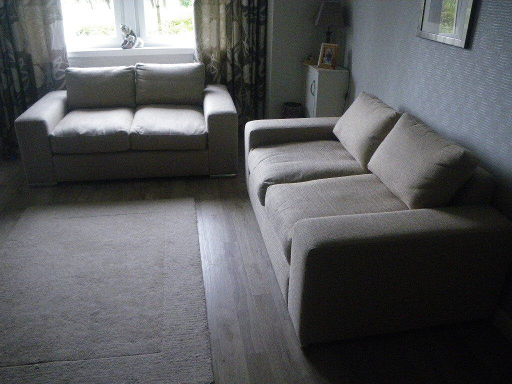 Pair of matching two seater sofas high quality modern contemporary in design oatmeal natural