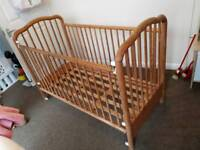 Wooden Baby cot and John Lewis Mattress