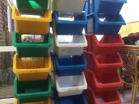 Large Quantity Of Plastic Storage Boxes In Various Colours.