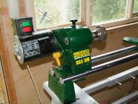 """Record Wood-turning Lathe working length 36"""" Throwing Diam 12"""" and Stand."""