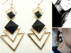 Long Drop Earrings Gold Black Statement Party Dangle Chandelier Geometric Large