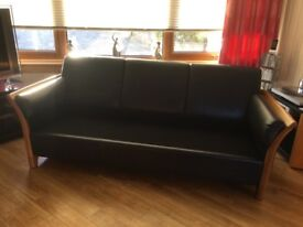 2 Streesless low back navy leather 3 seater sofas 1 matching chair excellent condition