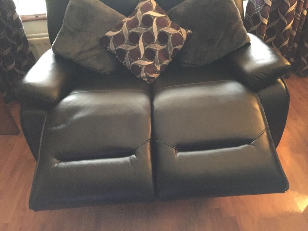 Black leather 2 seater recliner chair