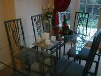 Italian style six seat glass top dining table