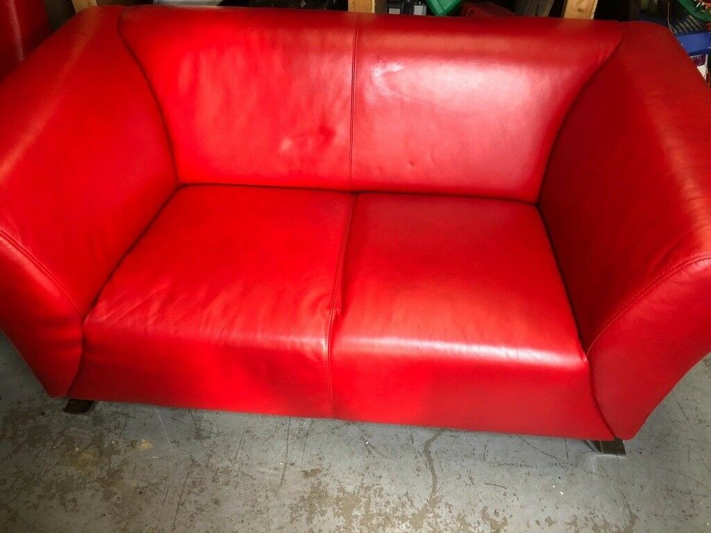Red Leather Sofa And Chair In South Shields Tyne And Wear Gumtree