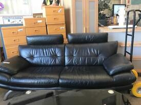 Black leather sofa delivery available