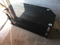 Black Glass TV Stand in Chrome Fits Any Size Tv Upto 60in Or More Tv Stand Like New