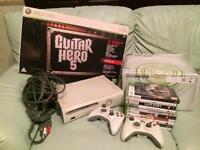 Xbox 360, games and guitar hero bundle