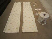 Pair of nursery little stitch and mr hedgehog cream curtains.